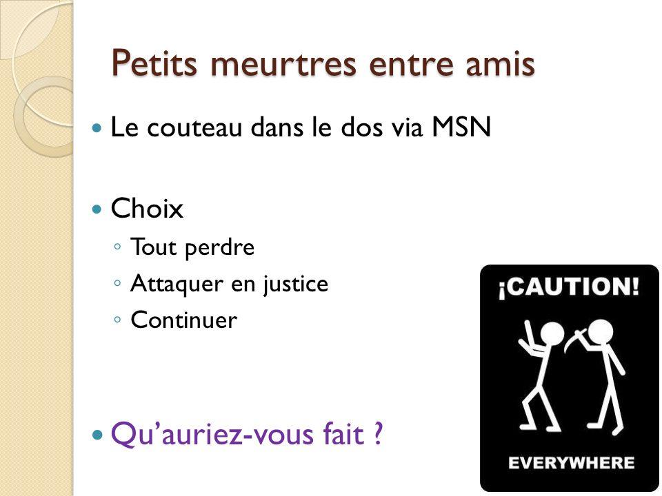 Petits meurtres entre amis Le couteau dans le dos via MSN Choix Tout perdre Attaquer en justice Continuer Quauriez-vous fait ?