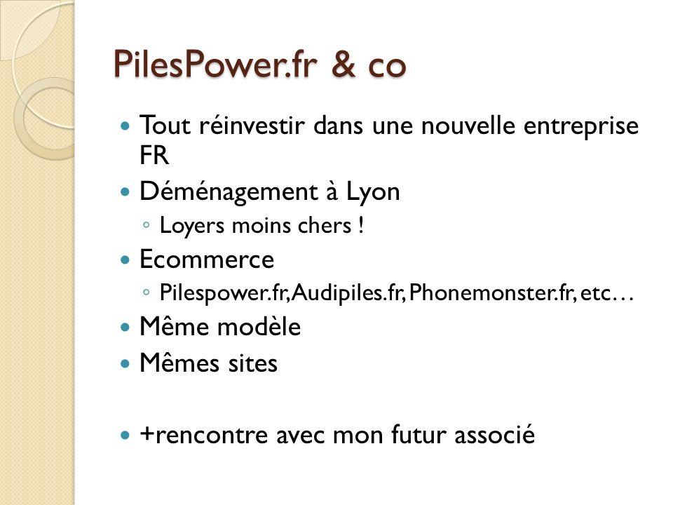 PilesPower.fr & co Tout réinvestir dans une nouvelle entreprise FR Déménagement à Lyon Loyers moins chers ! Ecommerce Pilespower.fr, Audipiles.fr, Pho