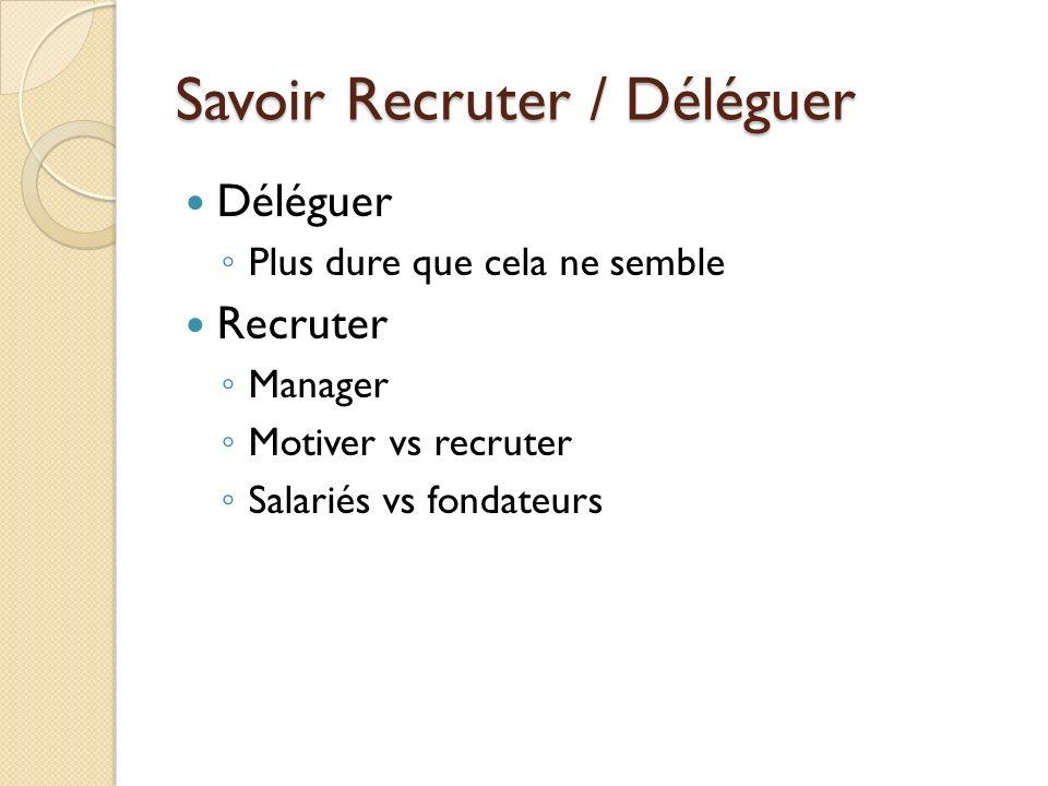 Savoir Recruter / Déléguer Déléguer Plus dure que cela ne semble Recruter Manager Motiver vs recruter Salariés vs fondateurs
