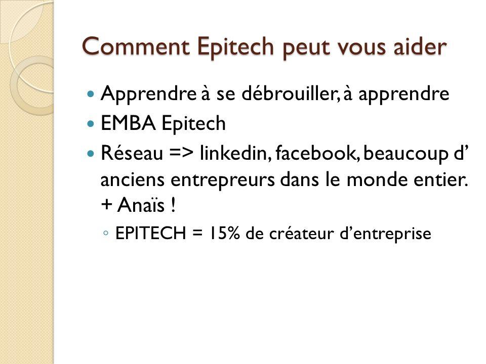 Comment Epitech peut vous aider Apprendre à se débrouiller, à apprendre EMBA Epitech Réseau => linkedin, facebook, beaucoup d anciens entrepreurs dans
