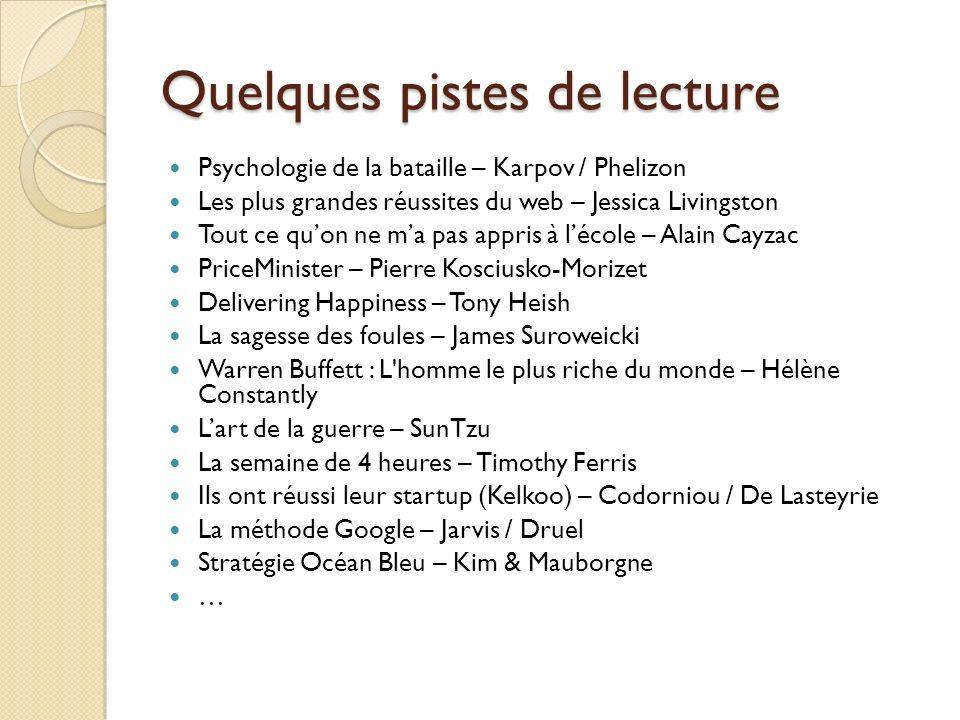Quelques pistes de lecture Psychologie de la bataille – Karpov / Phelizon Les plus grandes réussites du web – Jessica Livingston Tout ce quon ne ma pa