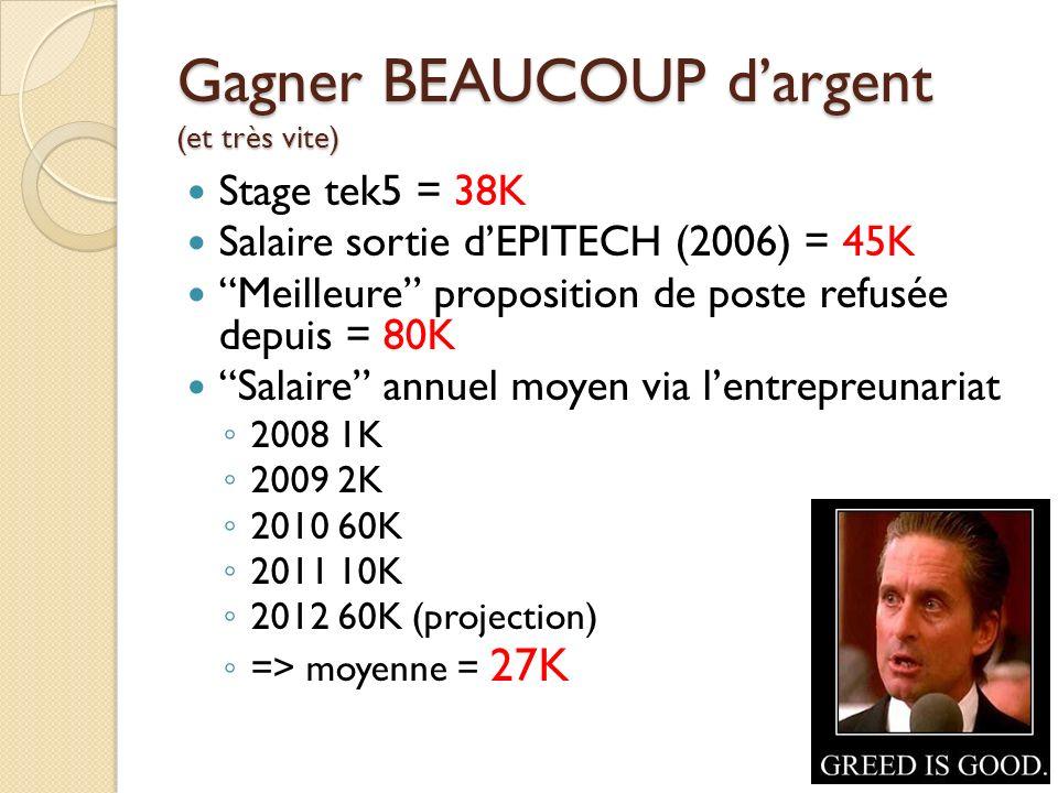 Gagner BEAUCOUP dargent (et très vite) Stage tek5 = 38K Salaire sortie dEPITECH (2006) = 45K Meilleure proposition de poste refusée depuis = 80K Salai