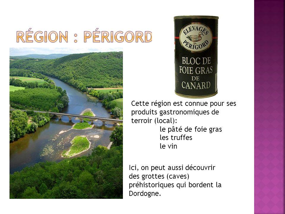 Ici, on peut aussi découvrir des grottes (caves) préhistoriques qui bordent la Dordogne. Cette région est connue pour ses produits gastronomiques de t