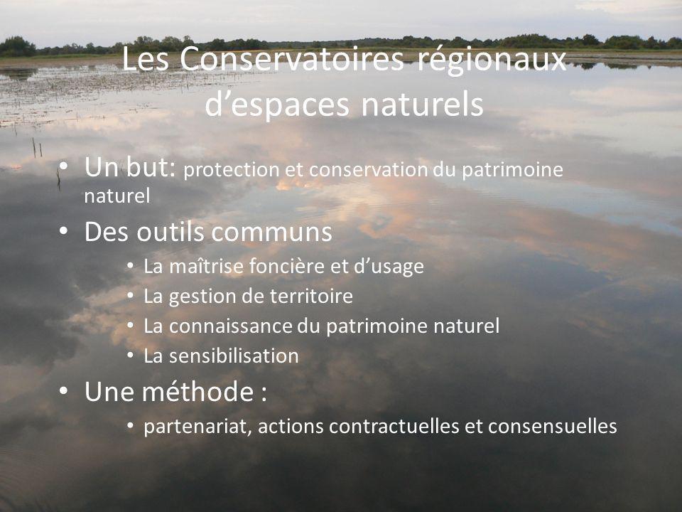 Les Conservatoires régionaux despaces naturels Un but: protection et conservation du patrimoine naturel Des outils communs La maîtrise foncière et dus