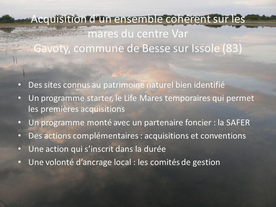 Acquisition dun ensemble cohérent sur les mares du centre Var Gavoty, commune de Besse sur Issole (83) Des sites connus au patrimoine naturel bien ide