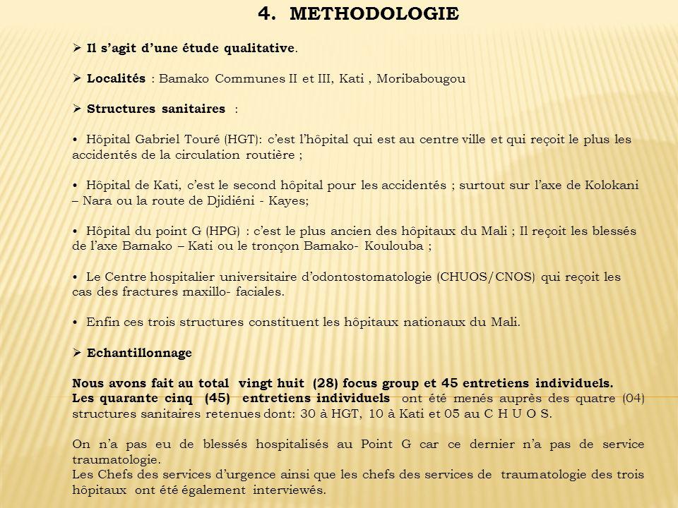 4. METHODOLOGIE Il sagit dune étude qualitative. Localités : Bamako Communes II et III, Kati, Moribabougou Structures sanitaires : Hôpital Gabriel Tou