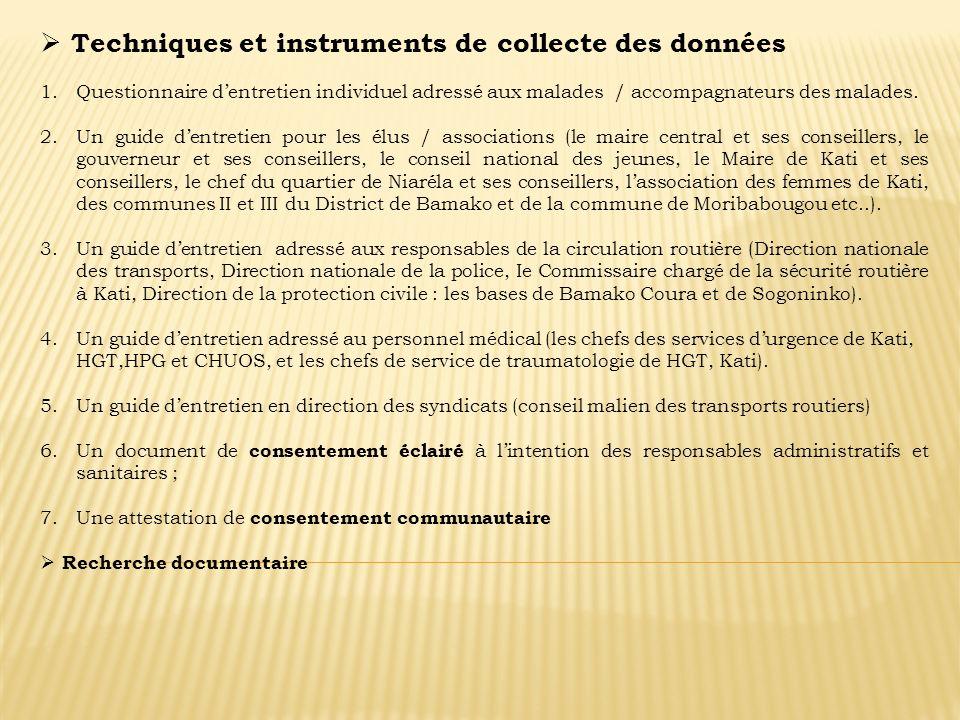 Techniques et instruments de collecte des données 1.Questionnaire dentretien individuel adressé aux malades / accompagnateurs des malades. 2.Un guide