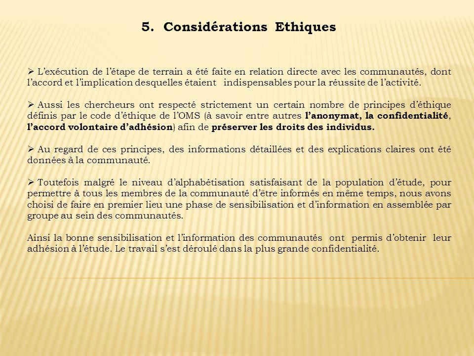 5. Considérations Ethiques Lexécution de létape de terrain a été faite en relation directe avec les communautés, dont laccord et limplication desquell