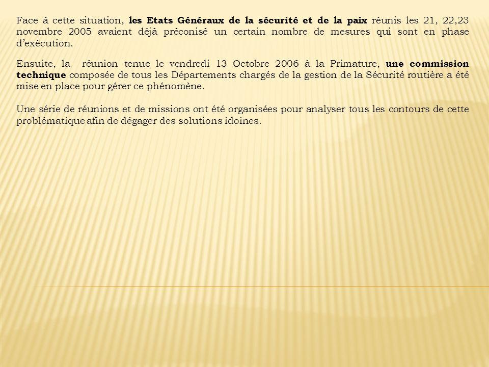 Face à cette situation, les Etats Généraux de la sécurité et de la paix réunis les 21, 22,23 novembre 2005 avaient déjà préconisé un certain nombre de