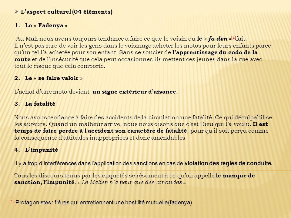 Laspect culturel (04 éléments) 1. Le « Fadenya » Au Mali nous avons toujours tendance à faire ce que le voisin ou le « fa den » [1] fait. [1] Il nest