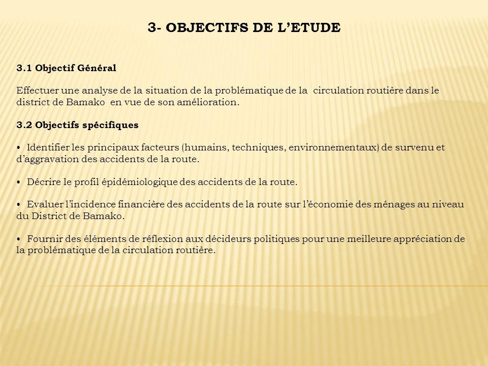 3- OBJECTIFS DE LETUDE 3.1 Objectif Général Effectuer une analyse de la situation de la problématique de la circulation routière dans le district de B