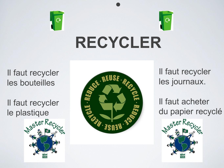RECYCLER Il faut recycler les bouteilles Il faut recycler le plastique Il faut recycler les journaux. Il faut acheter du papier recyclé