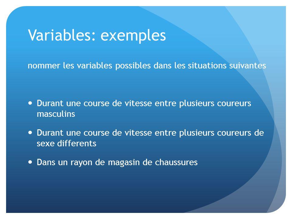 Variables: exemples nommer les variables possibles dans les situations suivantes Durant une course de vitesse entre plusieurs coureurs masculins Duran