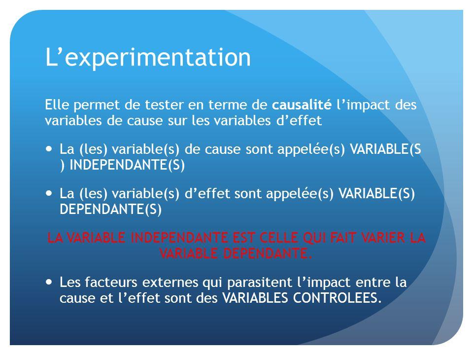 Lexperimentation Elle permet de tester en terme de causalité limpact des variables de cause sur les variables deffet La (les) variable(s) de cause son