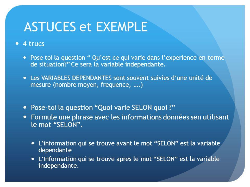 ASTUCES et EXEMPLE 4 trucs Pose toi la question Quest ce qui varie dans lexperience en terme de situation? Ce sera la variable independante. Les VARIA