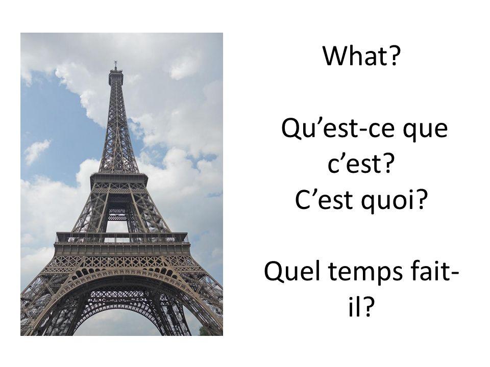 What? Quest-ce que cest? Cest quoi? Quel temps fait- il?