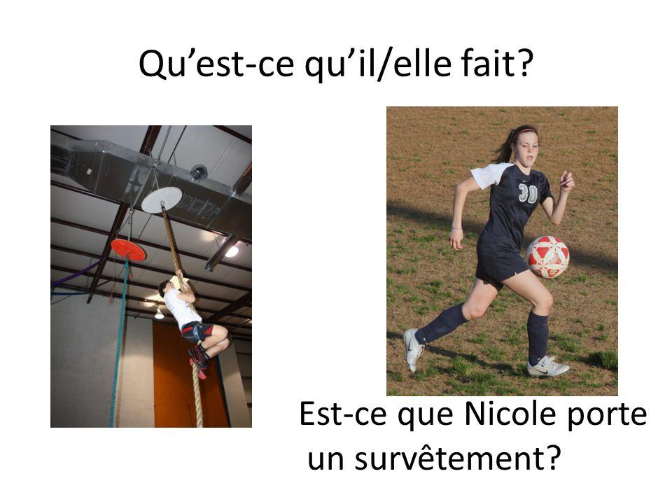 Quest-ce quil/elle fait? Est-ce que Nicole porte un survêtement?