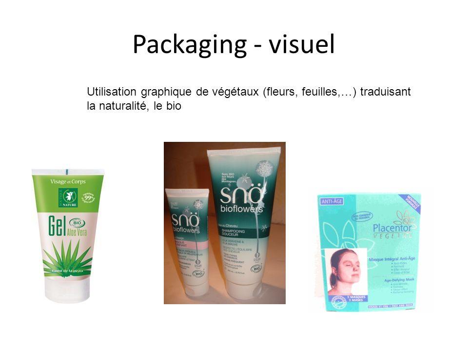 Packaging - visuel Utilisation graphique de végétaux (fleurs, feuilles,…) traduisant la naturalité, le bio