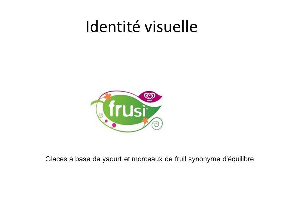 Identité visuelle Glaces à base de yaourt et morceaux de fruit synonyme déquilibre