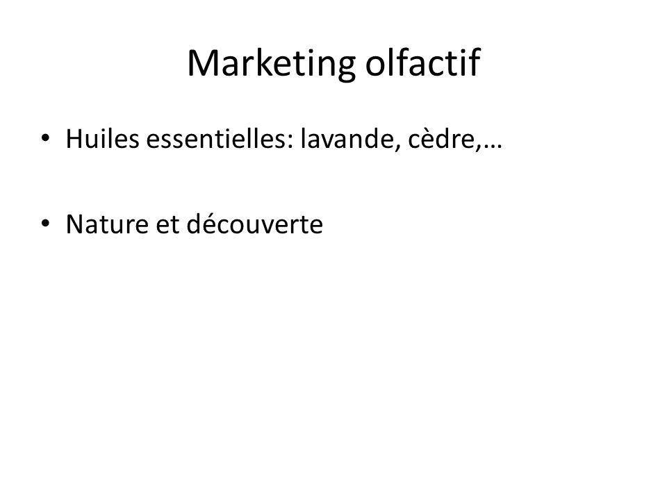Marketing olfactif Huiles essentielles: lavande, cèdre,… Nature et découverte