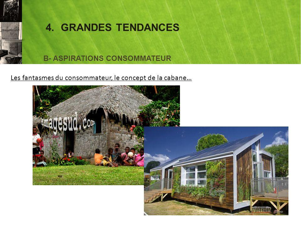 4.GRANDES TENDANCES B- ASPIRATIONS CONSOMMATEUR Les fantasmes du consommateur, le concept de la cabane…