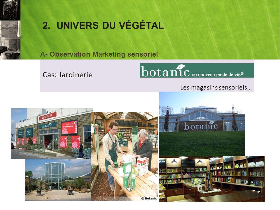 2.UNIVERS DU VÉGÉTAL Cas: Jardinerie A- Observation Marketing sensoriel Les magasins sensoriels…