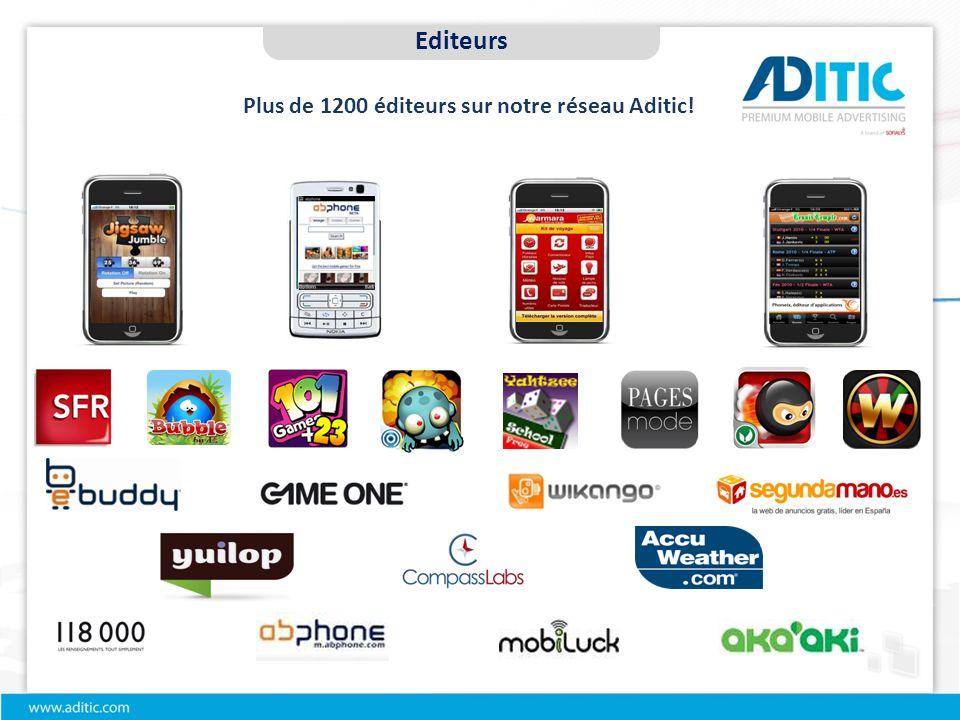 Plus de 1200 éditeurs sur notre réseau Aditic! Editeurs