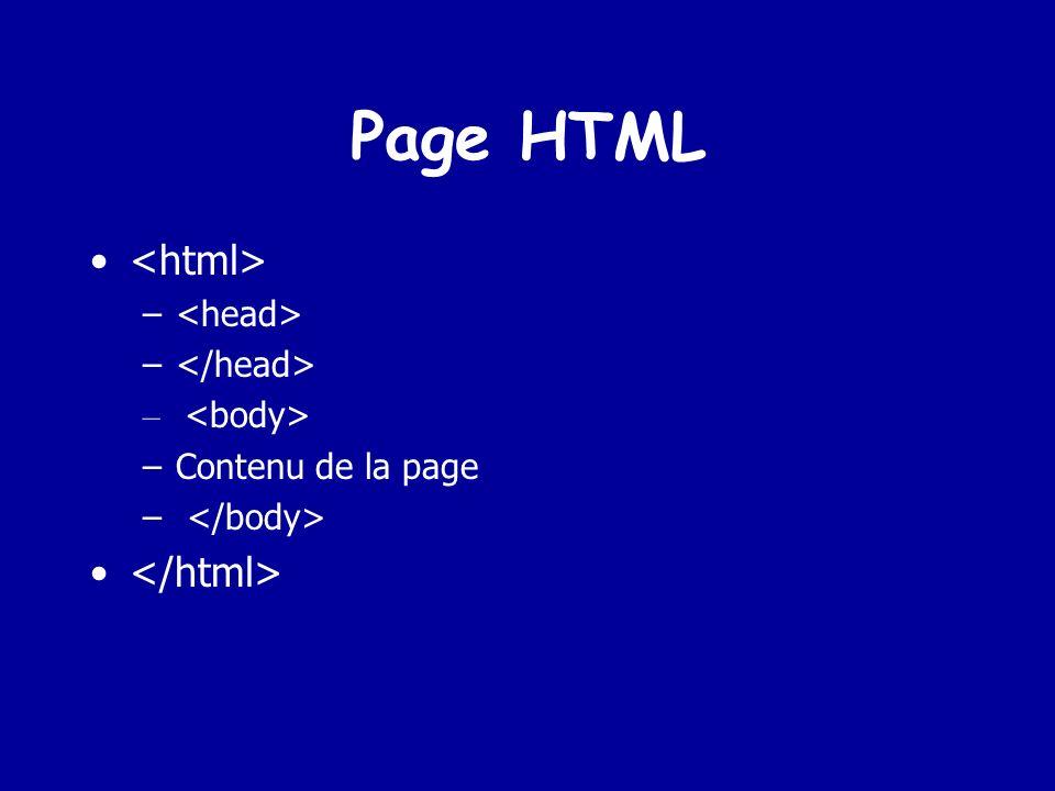 LHTML Hyper Text Markup Language et marque le début et la fin d un document html et marque le début et la fin entête de page les balises décrivent en général la page et fournissent des mots clés destinés aux moteurs de recherche internet.