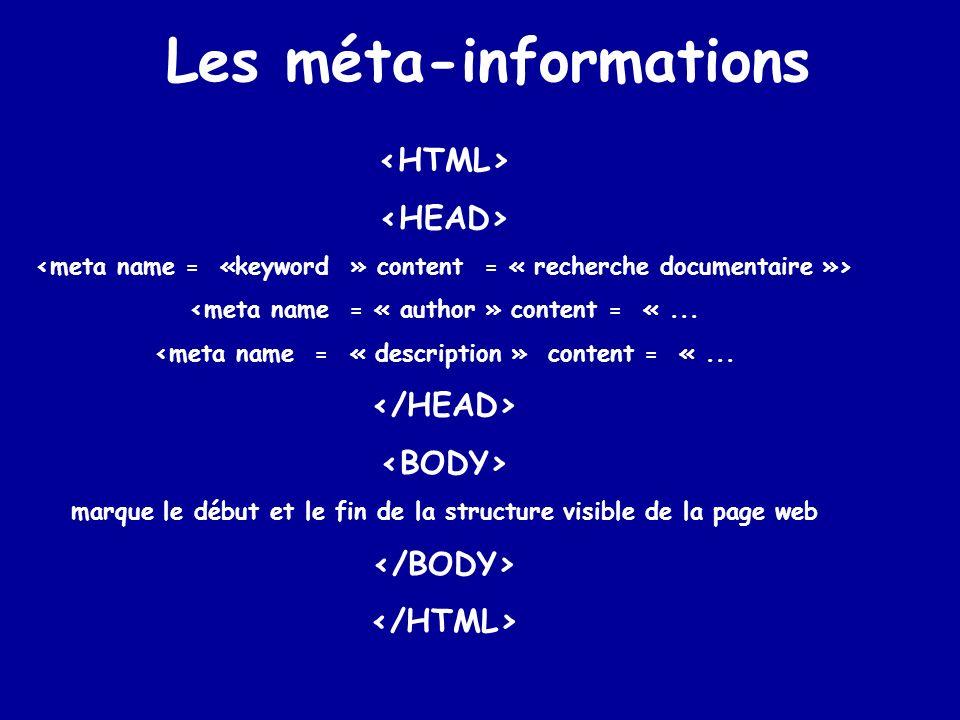 Page HTML – –Contenu de la page –