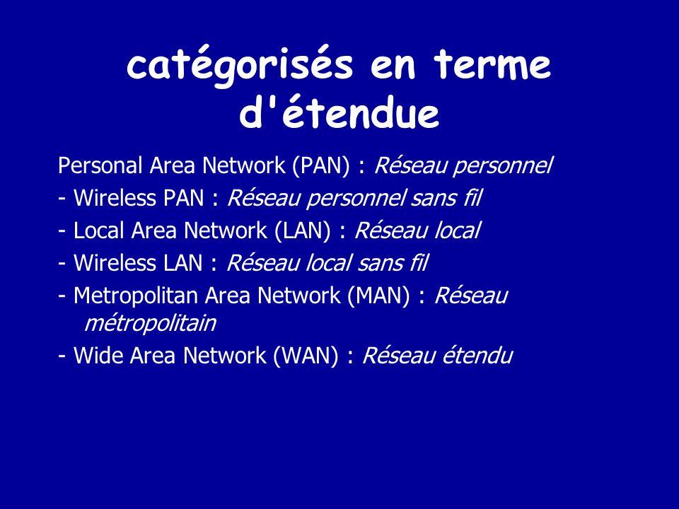 Types de réseau Il existe plusieurs façons de catégoriser un réseau informatique : - en terme détendue - par relation fonctionnelle entre les composants