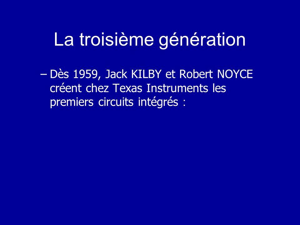 La deuxième génération –trois événements majeurs ont permis de donner à linformatique un formidable essor : En 1947 le premier transistor (laboratoires Bell) 1956, le premier langage de programmation : FORTRAN (FORmula TRANslator), Vers la même époque, le concept de système dexploitation est proposé