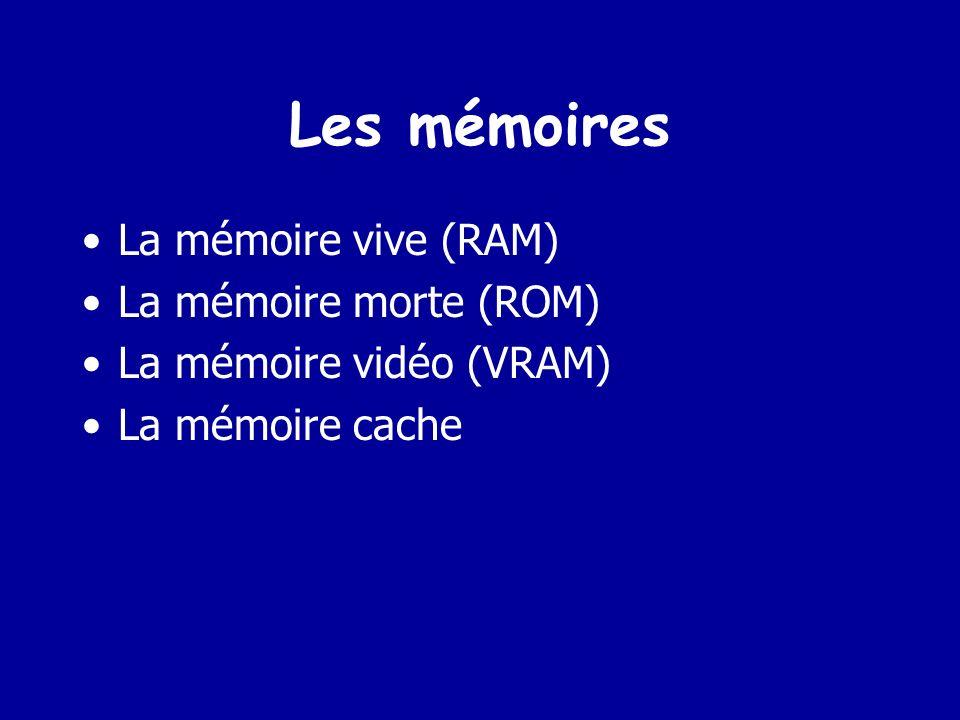 Mémoire Appelée aussi R A M (Random Access Memory) ou bien mémoire centrale (MC) Pour être exécuté, un programme doit résider dans la MC Elle est volatile (son contenu est perdu dès que lon éteint lordinateur) Sa puissance dépend de sa capacité et de la vitesse à laquelle on peut accéder à une donnée