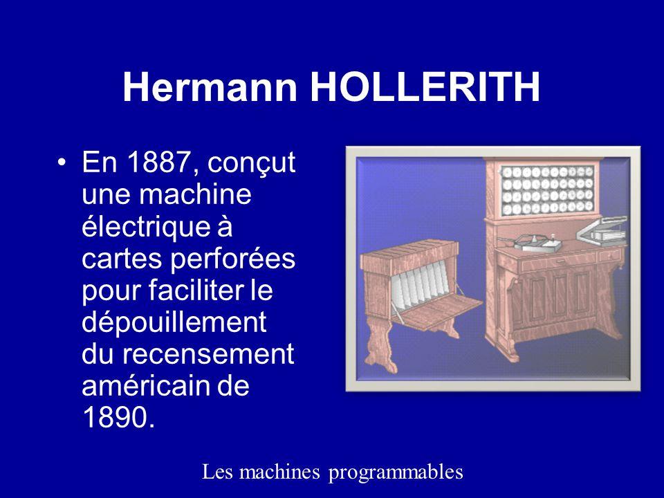 Hermann HOLLERITH En 1887, conçut une machine électrique à cartes perforées pour faciliter le dépouillement du recensement américain de 1890.