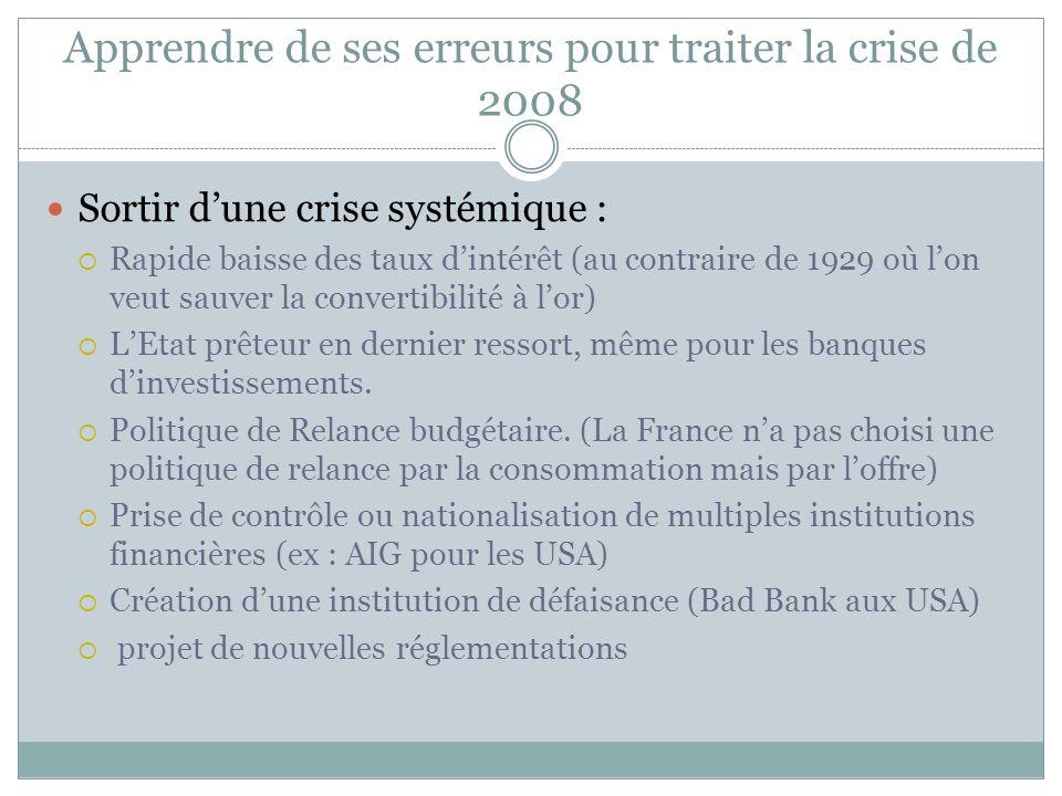Apprendre de ses erreurs pour traiter la crise de 2008 Au lieu de laisser se développer en chaîne les faillites des intervenants du marché financier,