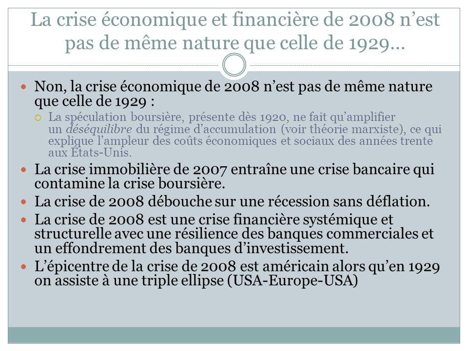 LA CRISE ÉCONOMIQUE ET FINANCIÈRE DE 2008 EST-ELLE DE MÊME NATURE QUE CELLE DE 1929? Conclusion
