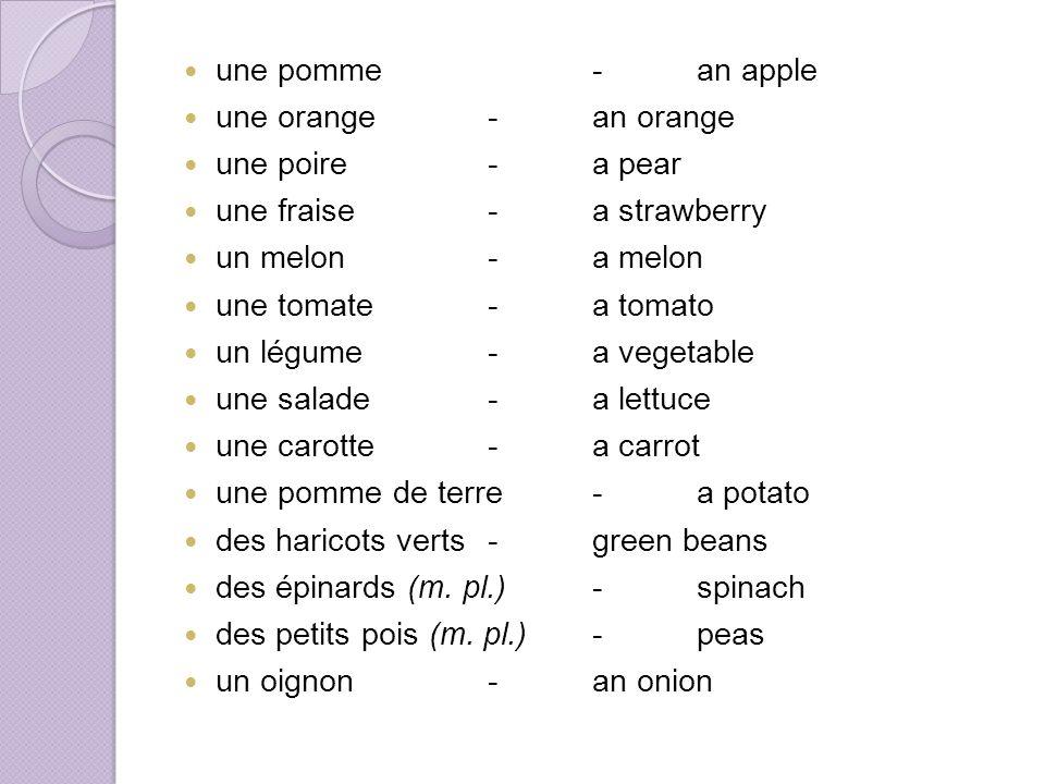 une pomme-an apple une orange-an orange une poire-a pear une fraise-a strawberry un melon-a melon une tomate-a tomato un légume-a vegetable une salade-a lettuce une carotte-a carrot une pomme de terre-a potato des haricots verts-green beans des épinards (m.