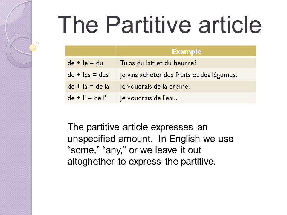 The Partitive article Example de + le = duTu as du lait et du beurre.