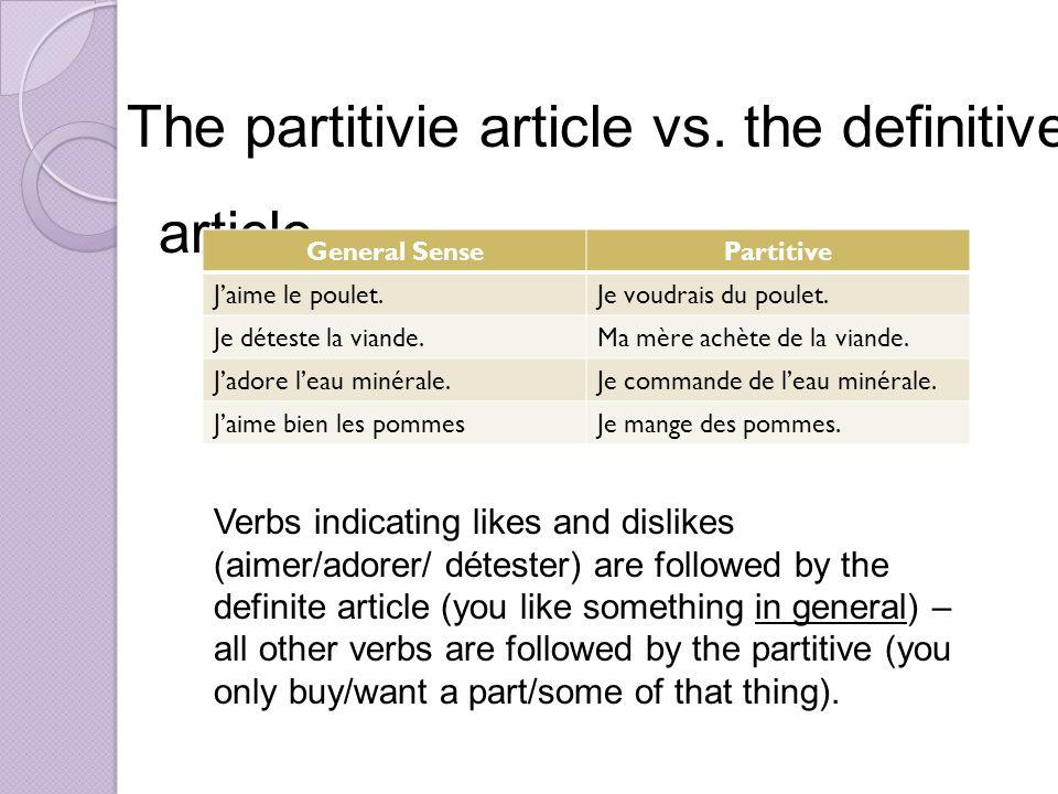 The partitivie article vs.