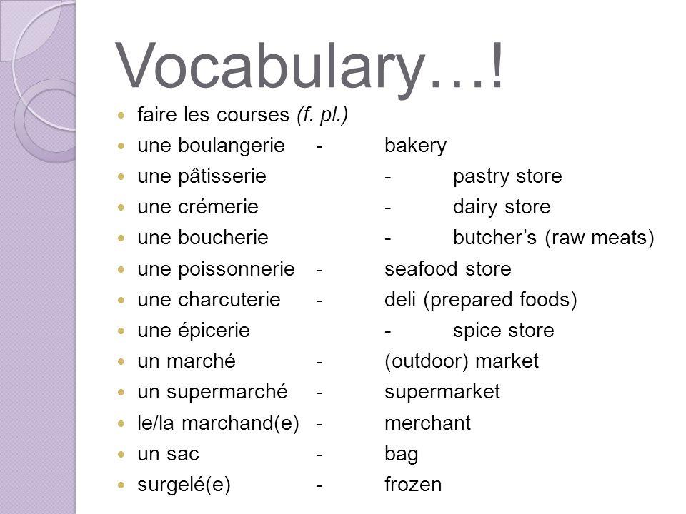 Vocabulary….faire les courses (f.