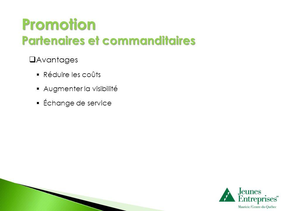 Avantages Réduire les coûts Augmenter la visibilité Échange de service Promotion Partenaires et commanditaires