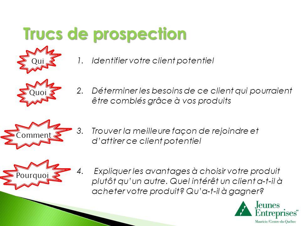 1.Identifier votre client potentiel 2.Déterminer les besoins de ce client qui pourraient être comblés grâce à vos produits 3.Trouver la meilleure faço