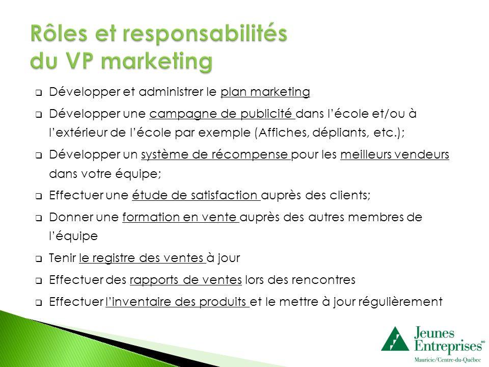 Développer et administrer le plan marketing Développer une campagne de publicité dans lécole et/ou à lextérieur de lécole par exemple (Affiches, dépli