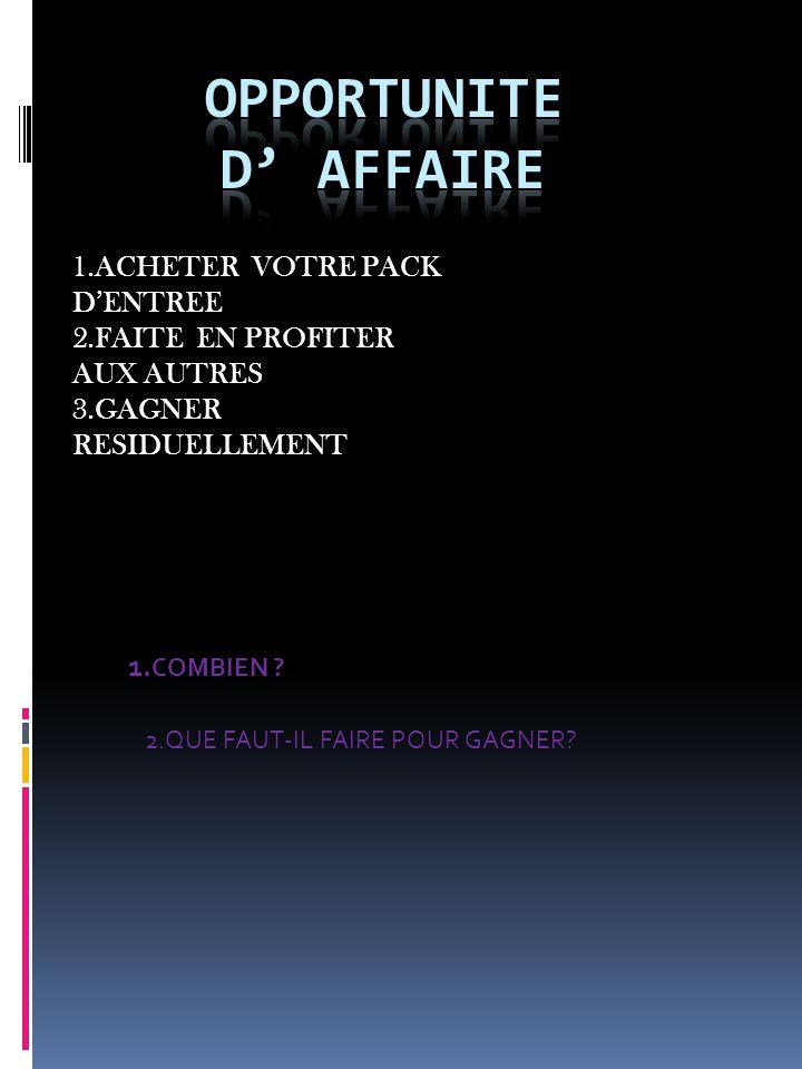 1.ACHETER VOTRE PACK DENTREE 2.FAITE EN PROFITER AUX AUTRES 3.GAGNER RESIDUELLEMENT 1.
