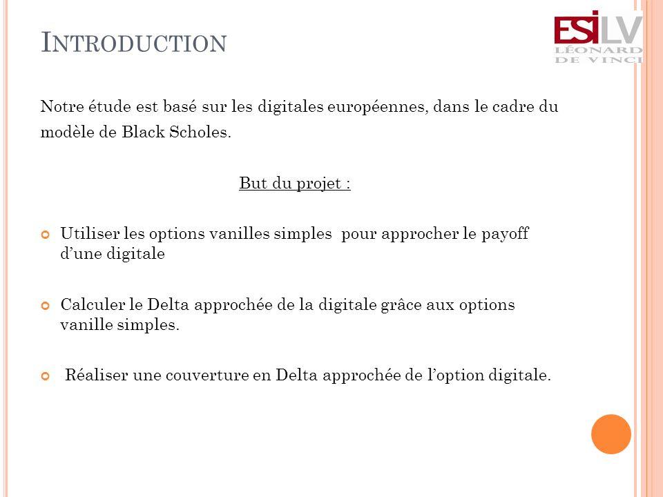 I NTRODUCTION Notre étude est basé sur les digitales européennes, dans le cadre du modèle de Black Scholes.