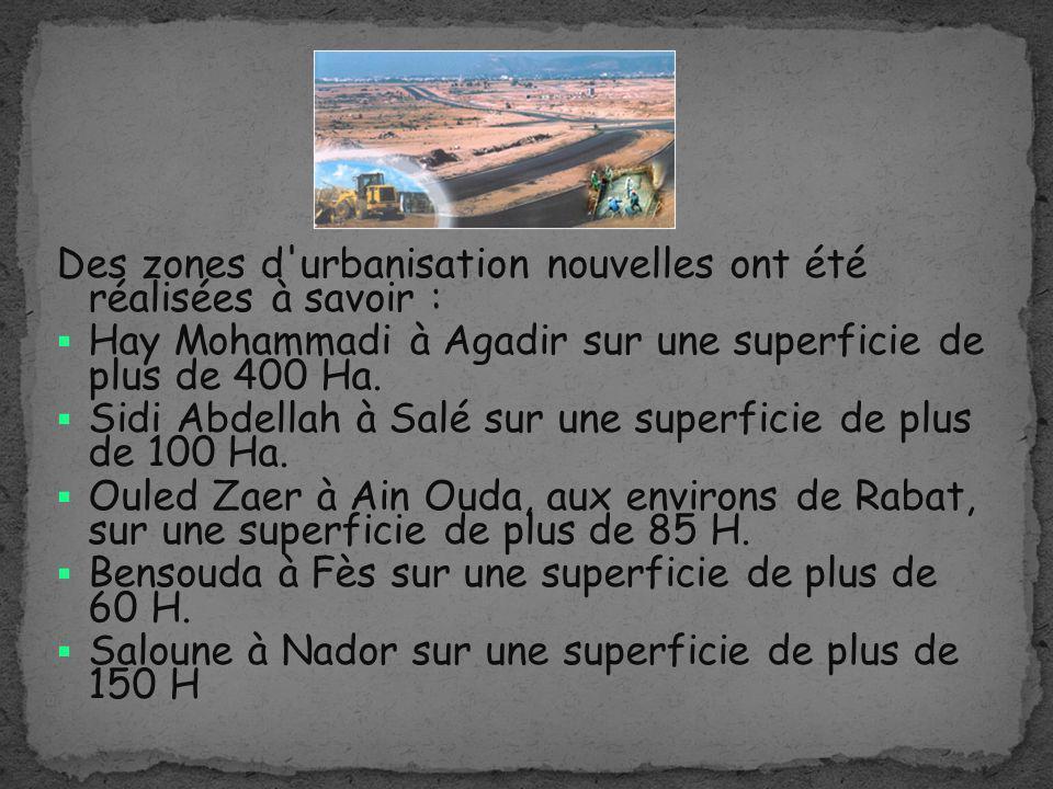 Des zones d'urbanisation nouvelles ont été réalisées à savoir : Hay Mohammadi à Agadir sur une superficie de plus de 400 Ha. Sidi Abdellah à Salé sur