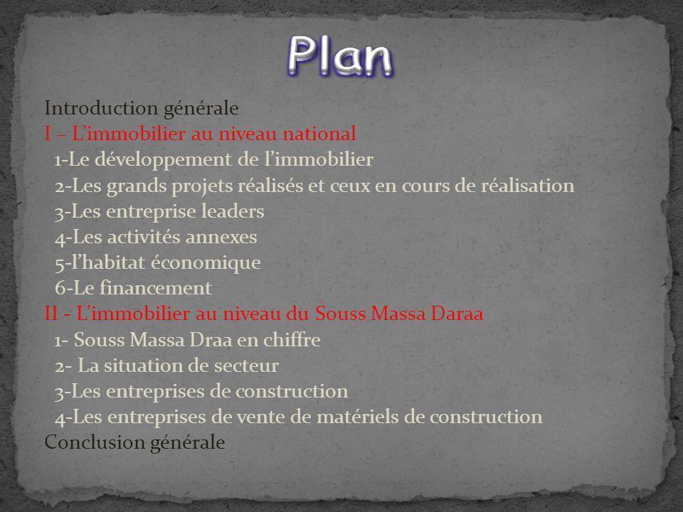 Introduction générale I – Limmobilier au niveau national 1-Le développement de limmobilier 2-Les grands projets réalisés et ceux en cours de réalisati