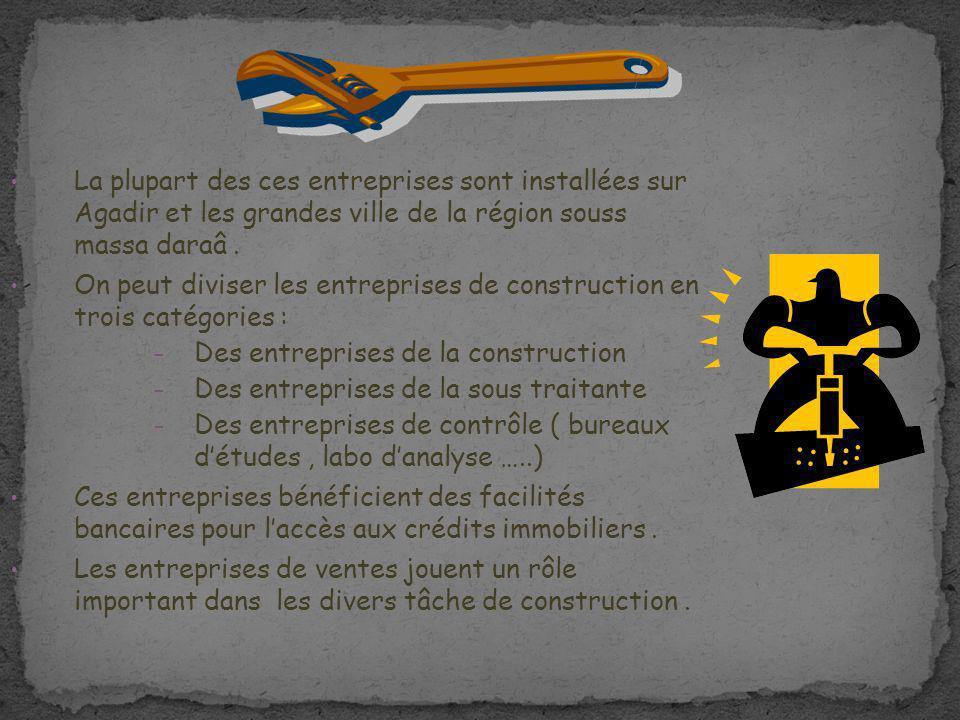 La plupart des ces entreprises sont installées sur Agadir et les grandes ville de la région souss massa daraâ. On peut diviser les entreprises de cons