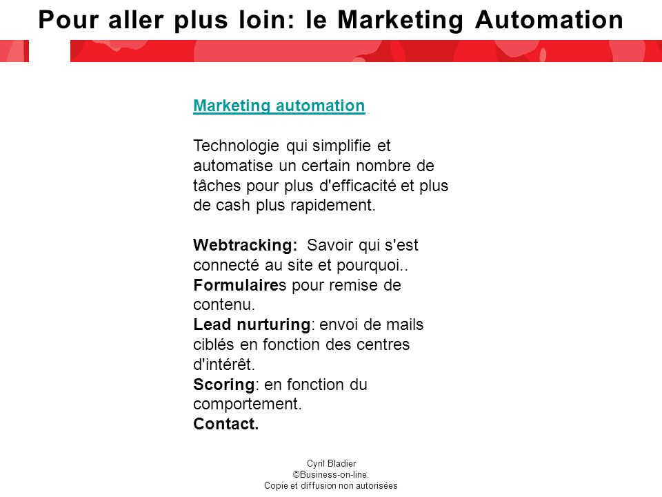 Pour aller plus loin: le Marketing Automation Cyril Bladier ©Business-on-line.