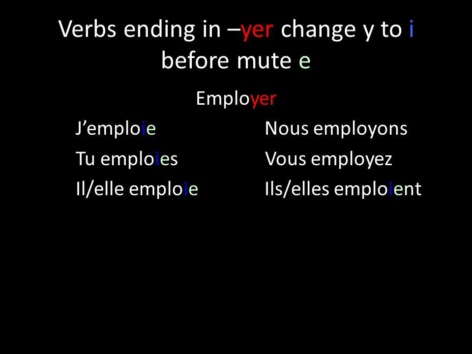 Verbs ending in –yer change y to i before mute e Employer Jemploie Nous employons Tu emploies Vous employez Il/elle emploieIls/elles emploient