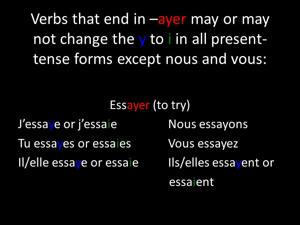 Verbs that end in –ayer may or may not change the y to i in all present- tense forms except nous and vous: Essayer (to try) Jessaye or jessaieNous ess